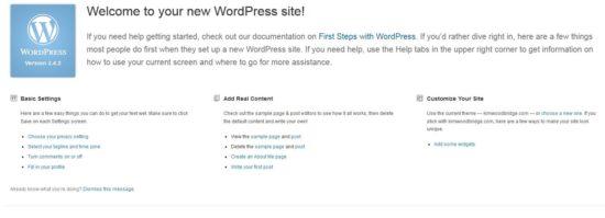 WordPress 3.4 Welcome Screen