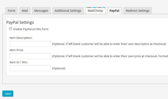 Contact Form 7 Paypal Settings